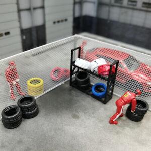 1/64 Car Model Accessories Fences Diorama Scenery Tools 2PCS/Pac + Tire Rack