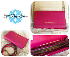 NWT MICHAEL KORS LEATHER JET SET TRAVEL WALLET PHONE CROSSBODY IN ULTRA PINK