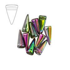 Cristal Checo 17mm Cuentas de Cristal Magica Orquídea Spike Pack de 10 (M41/2)