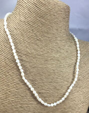 Vintage STYLE Necklace pEARL freshwater Rice wHITE & Goldtone Choker gENUINE