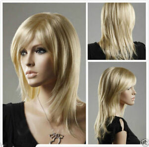 Ladies Long Layer Bangs Straight Blonde Natural Hair Cosplay Party Costume Wigs