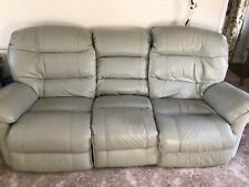 Leather 3 Piece Suite, Soft Green