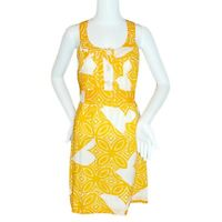 Trina Turk Orange and White Women's Sleeveless Belted Sundress With Buttons- 2
