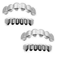 Silver Plated Grillz (Top & Bottom) w/ Mold Kit 2 Pair SET [Bundle Set]
