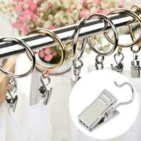 Stainless Steel Curtain Rod Hook Clips Window Shower Curtain Clamps Rings B3Y3