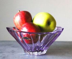 """Crystal Bowl 8 """" Bohemia Amethyst Vase Czech Glass Fruit Desert Sweets Gift NEW"""