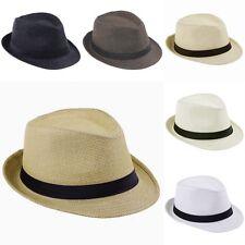 Women Mens Summer Fedora Trilby Panama Straw Hat Beach Sunhat Gangster Jazz Cap