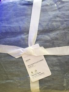 POTTERY BARN Belgian Flax Linen QUEEN Sheets 4 pc Set NEW - CHAMBRAY BLUE