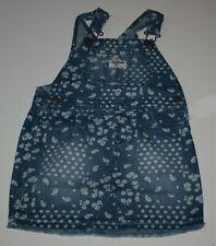 New OshKosh 5T Girls Denim Blue Jean Jumper Dress Overalls Skirt Bandana Paisley