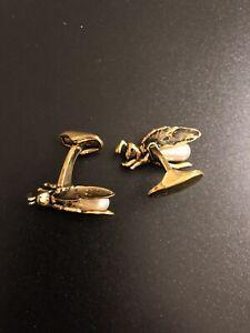 NEW! Paul Smith - Enamel & Pearl Hornet Bugs Gold Tone Cufflinks Cuff Links