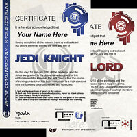 JEDI KNIGHT - SITH LORD Star Wars Certificate High Quality - REAL HOLOGRAM Coded