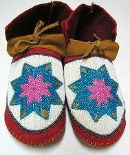 NATIVE AMERICAN BEADED MOCCASINS RAINBOW STAR 10 INCHES