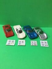 2 Rare 1/24 Eldon Slot Cars with two other Bodies & decal sheets Nice set