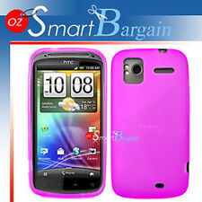 Pink Soft Gel TPU Cover Case For HTC Sensation + Film