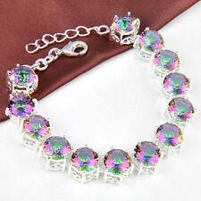 Attractive Jewelry 13x Rainbow Mystic Topaz Gemstone Silver Bracelets 7 3/4 inch