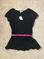Neon Pink Skinny Belt Black Short Sleeve Stretch Cotton Peplum Top Tee T Shirt S