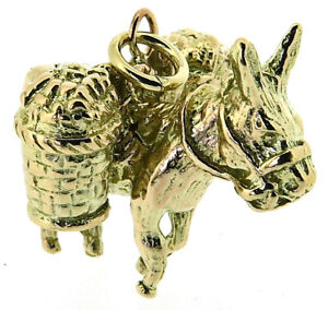 solid 9Carat 9ct yellow gold working donkey charm pendant 3D British hallmark