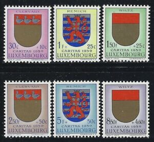 Luxembourg 1959 Coat of Arms set Sc# B210-15 NH