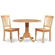 Oak Small Kitchen Table Plus 2 Dinette Chairs 3-piece Dining Set Wood Seat