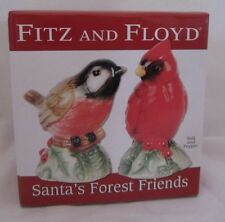 Fitz and & Floyd Santa's Forest Friends Cardinal Chickadee Salt & Pepper Shakers