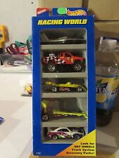 Hot Wheels Gift Pack Racing World! Lot of 5 cars w/Boat