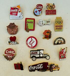 Vintage Coca Cola 1986-2002 assorted pins badge Truck Car Olympic Torch Relay +