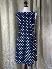 White Stuff 10 Polka Dot Blue Stretch Jersey Dress