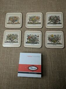 Vtg  Pimpernel traditional Collection FURBER FLOWERS Cream cork 6 luxe coasters