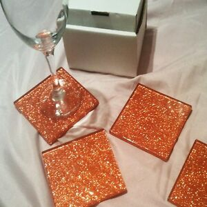 Fused Glass Orange Glitter Coasters 100 x 100mm sets of 4 or 6