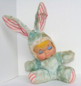 Vintage Bijou Boutique Rubber Face Doll Stuffed Bunny Rabbit Estate Find