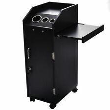 Black Beauty Salon Spa Rolling Trolley 4 Storage Trays &Locking Door Equipment