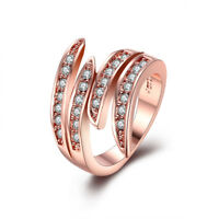 18K Rose Gold Plated Swirl Ring Made with Swarovski Crystals