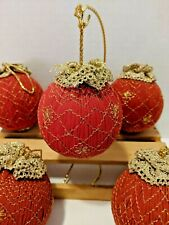 Gold Lace Covered Round Red Christmas Ornaments