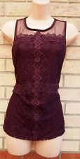 DOROTHY PERKINS DARK PURPLE LACE CROCHET MESH PARTY SLEEVELESS TOP BLOUSE 12 M