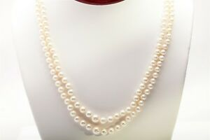 Signed MIKIMOTO $5000 5mm 8mm DOUBLE STRAND 18k Yellow Gold Necklace