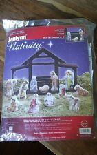 Vtg Janlynn cross stitch kit 023-0520 Nativity Christmas set 12 Nancy Rossi NEW