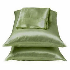 2 Standard / Queen size SATIN Pillow Cases / Covers SAGE GREEN Color-Brand New