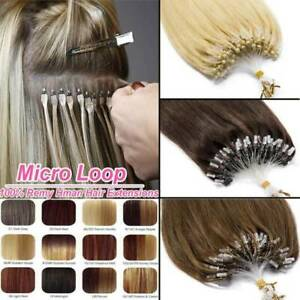 Micro Loop Ring Nano Beads Indian Remy Human Hair Extensions Pre Bonded 100s