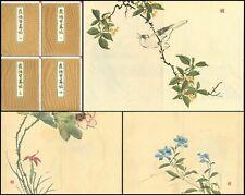 1914 Matsuda Kajo Flower Bird Picture Japan Original Woodblock Print 4 Book Full