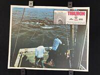 "1975 JAWS TIBURON Richard Dreyfuss DRAMA  Authentic MEXICAN LOBBY CARD~13.5""x11"""