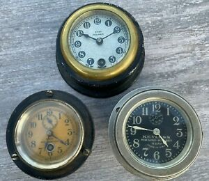 (3) Vintage Car Clocks - Rare Clocks Including 8-Day, Rim-Wind GREAT SET!