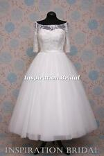 UK design 1589 short tea calf length wedding dress vintage inspired sleeves