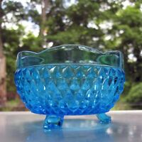 Indiana Glass Blue Diamond Point 3 Toed Candy Dish Rose Bowl