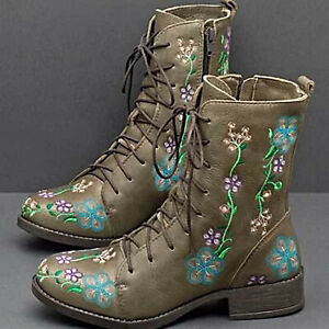 Womens Retro Floral Round Toe Ankle Boots Casual Lace Up Chunky Low Heels Shoes