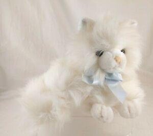 "Walmart Stores Fluffy White Cat Kitten Plush Stuffed Animal 10"" Wide 8"" Tall"