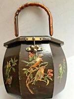 VTG 1950's MCM Lucite Wood Colorful 3D Relief Birds Figures Box Bucket Handbag