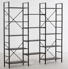 14 Total Layer Bookcase Storage Unit with Black Steel Frame & Food Pads, Walnut