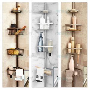 Luxury Telescopic Metal Spring Tension Pole 4 Shelf Corner Bathtub Shower Caddy