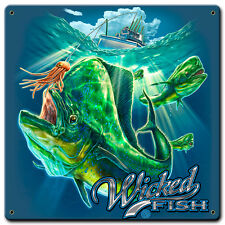 """""""Fishing Mahi"""" Wicked Fish Metal Sign - Hand Made in the USA with American Steel"""
