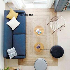 Rug 100% Natural Jute 6x9 Feet Handmade Carpet Runner Rug Floor Area modern rug